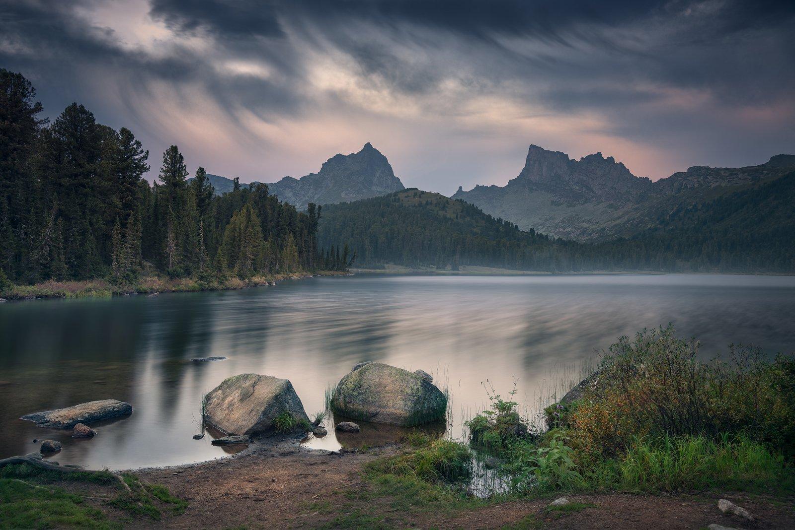 пейзаж, природа, озеро, отражение, камни, горы, скалы, пика, облака, небо, вечер, тихий, спокойный,  ергаки, красноярский край, сибирь, хребет, длинный, Антипов Дмитрий