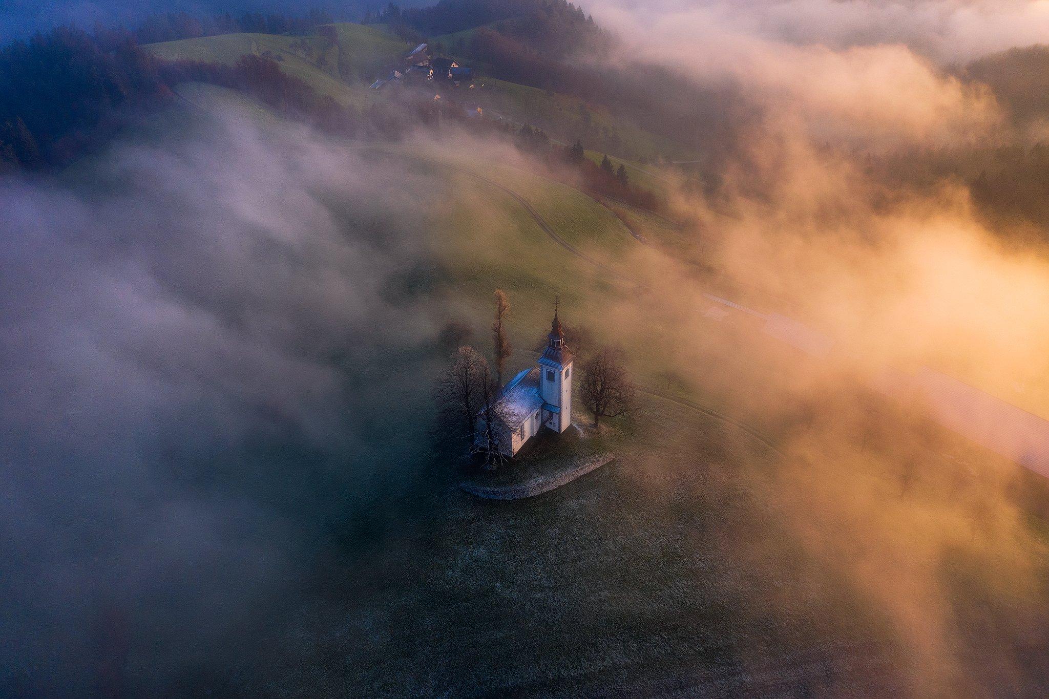 slovenia, landscape, moody, fog, sunrise, Remo Daut