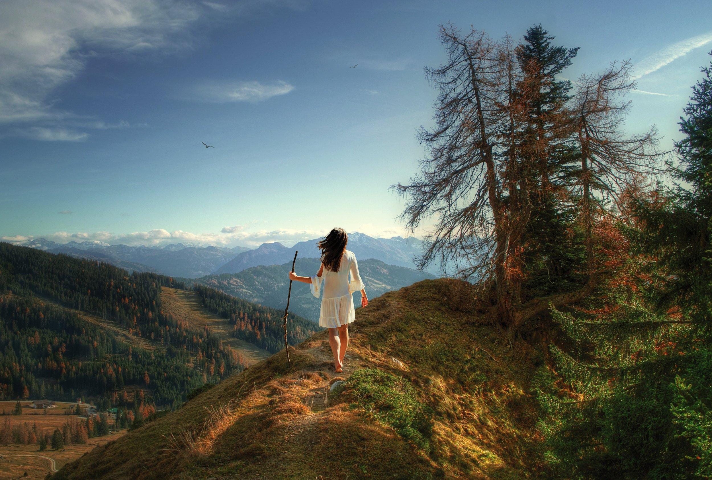 девушка, горы, Sergii Vidov