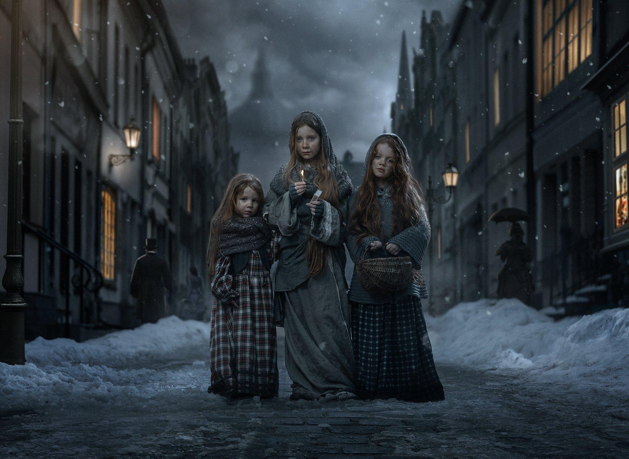 dark,mood,portrait,girls,little,match,night,snow,cold,freeze,fairy,tale,old,victorian,city,town,street,three,dirty,fairy tale, Koch Przemyslaw