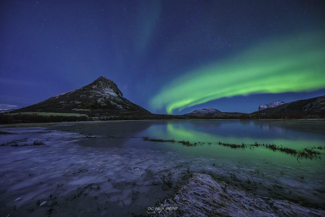 landscape, seascape, winter, nature, sea, rock, cloud, long exposure, night, aurora borealis, northern lights, Galip Çetiner