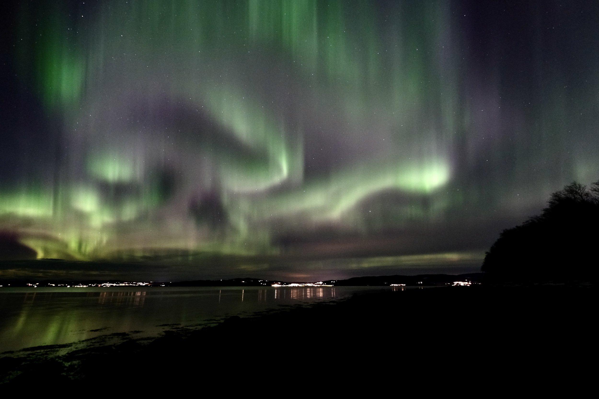 Night, Northern Lights, Aurora Borealis, nature, Norway, fjord, Trondheimsfjorden, landscape, water, colors, reflection, stars, , Povarova Ree Svetlana