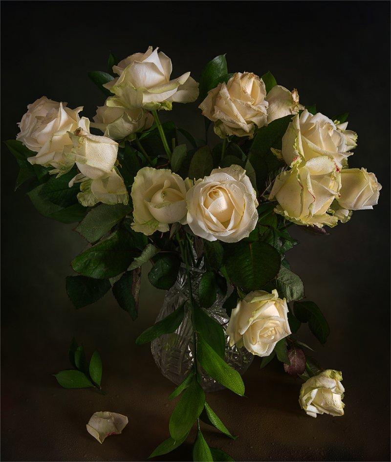 still life, натюрморт,    винтаж,    цветы,  букет, розы,, Шерман Михаил