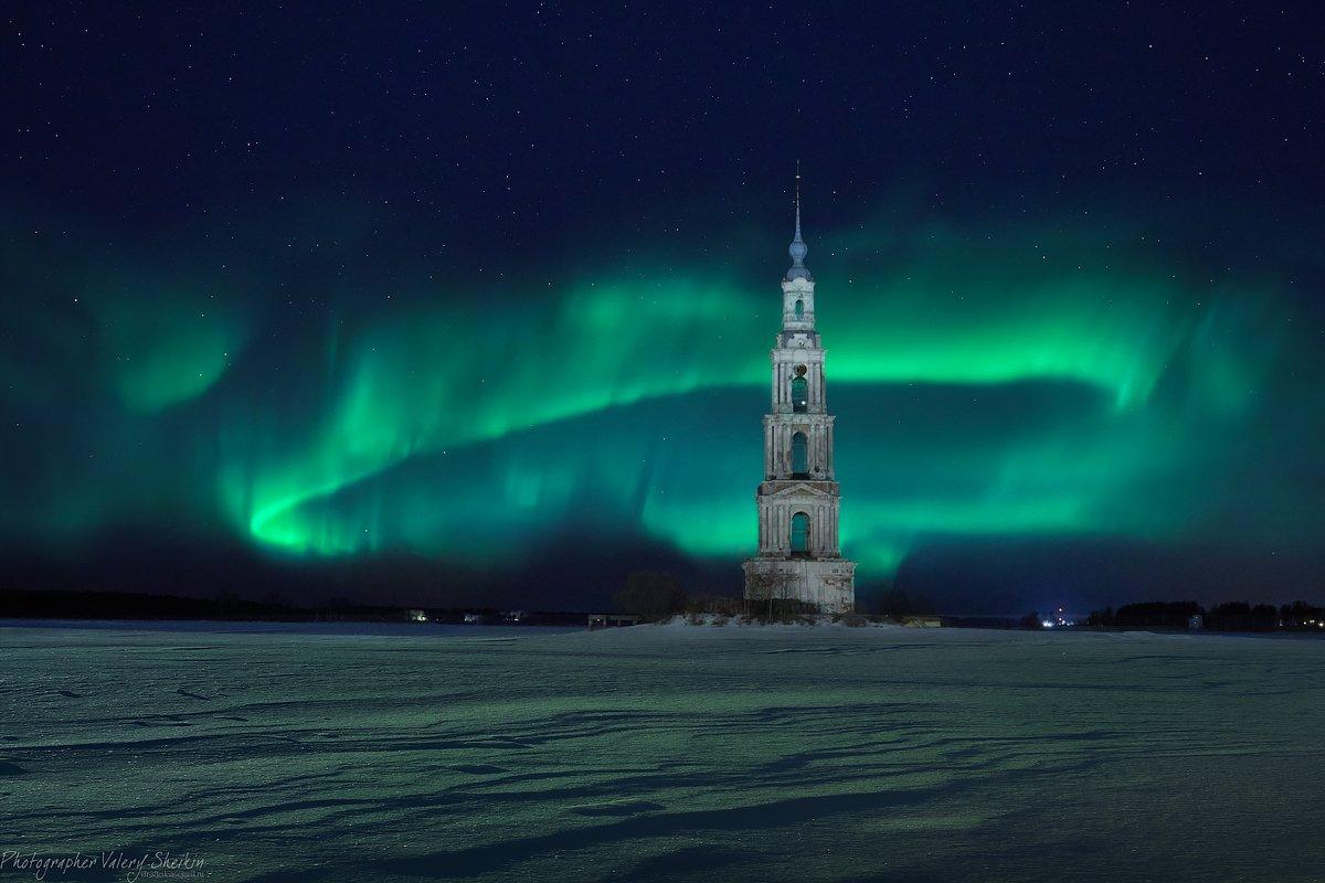 калязин, ночь, северное сияние , снег, колокольня, зима, Шейкин Валерий