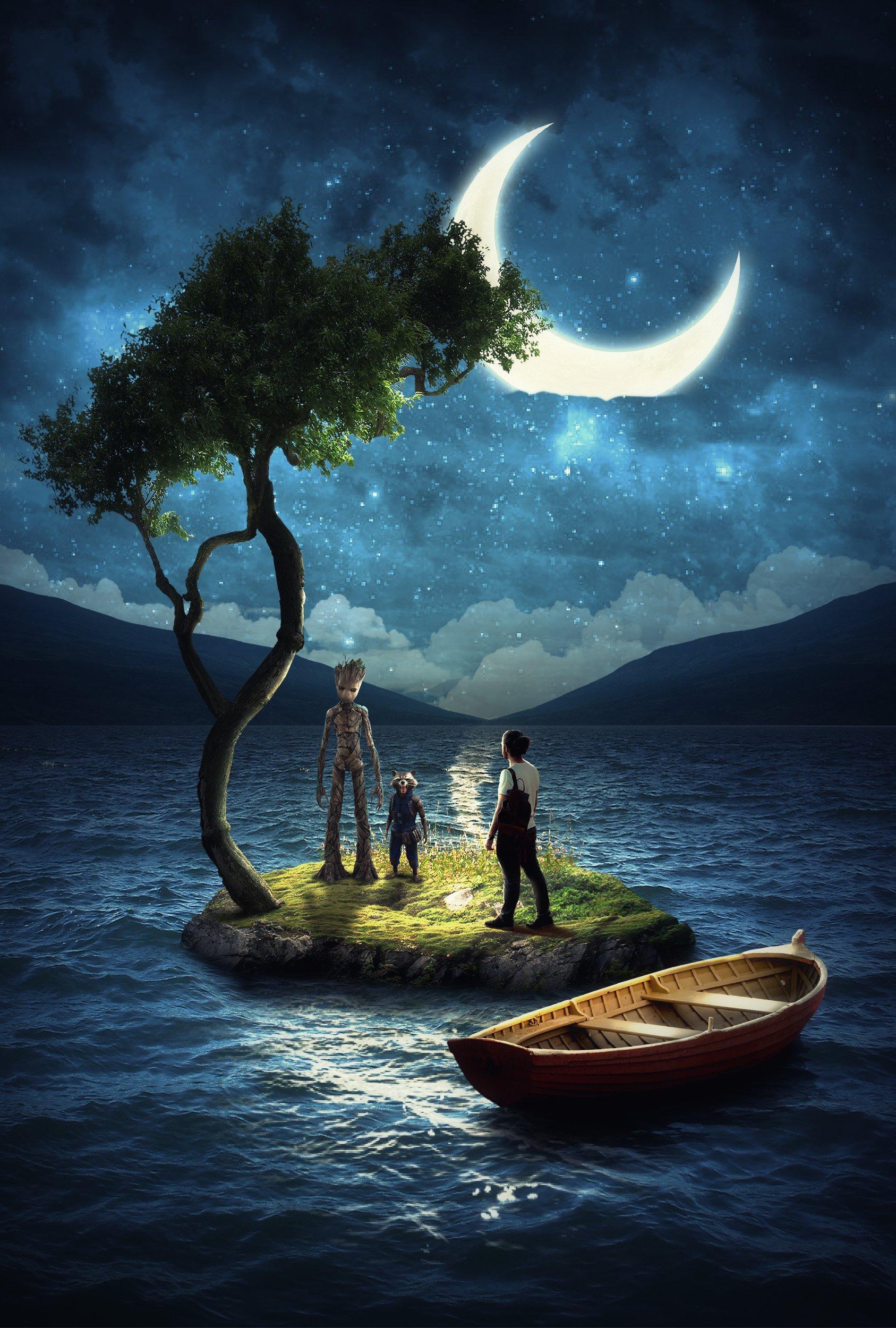 остров, лодка, грут, Sergii Vidov