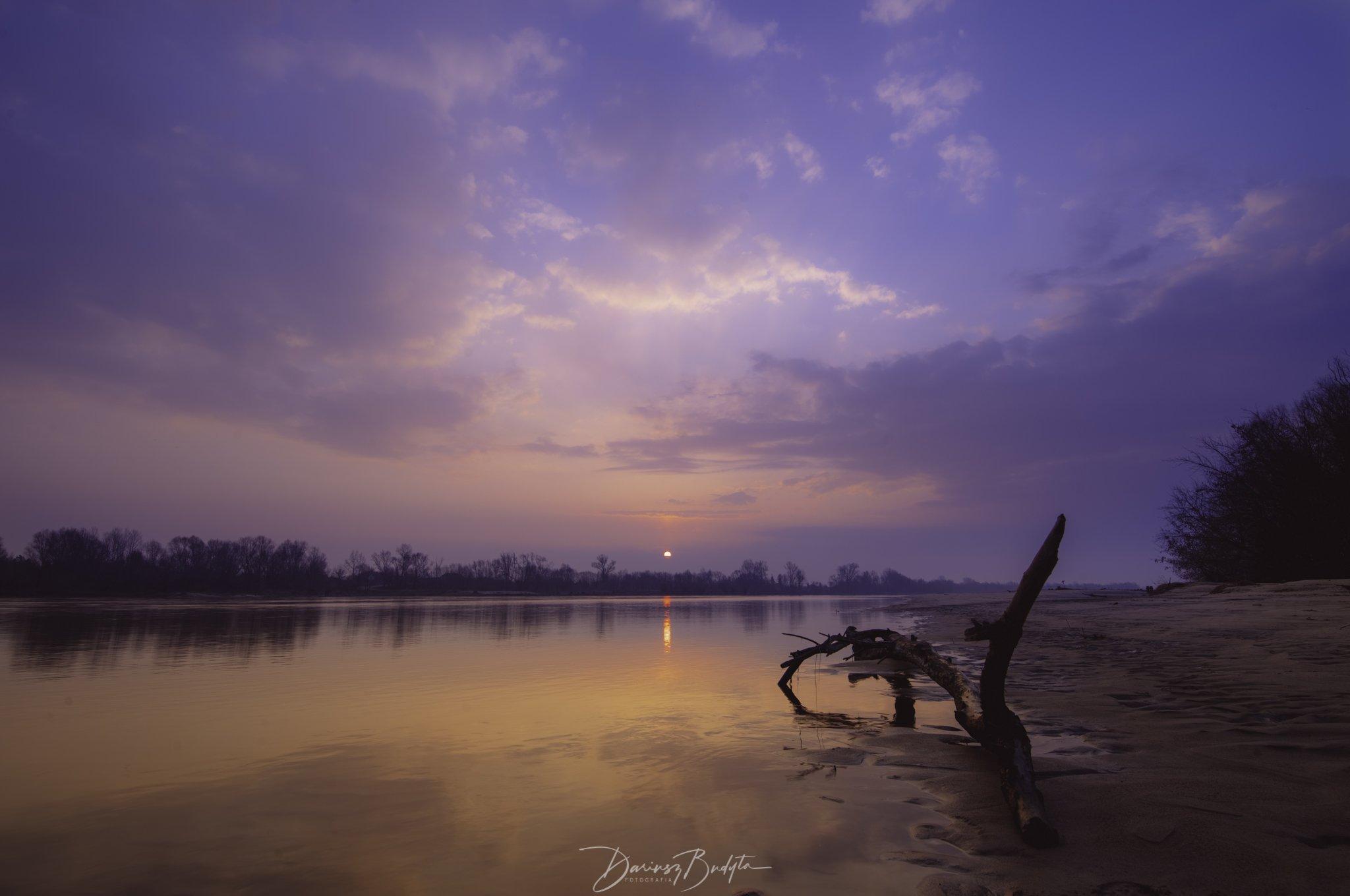 sunrise, winter, river, vistula, sky,clouds,sand,trees,refection, Budyta Dariusz