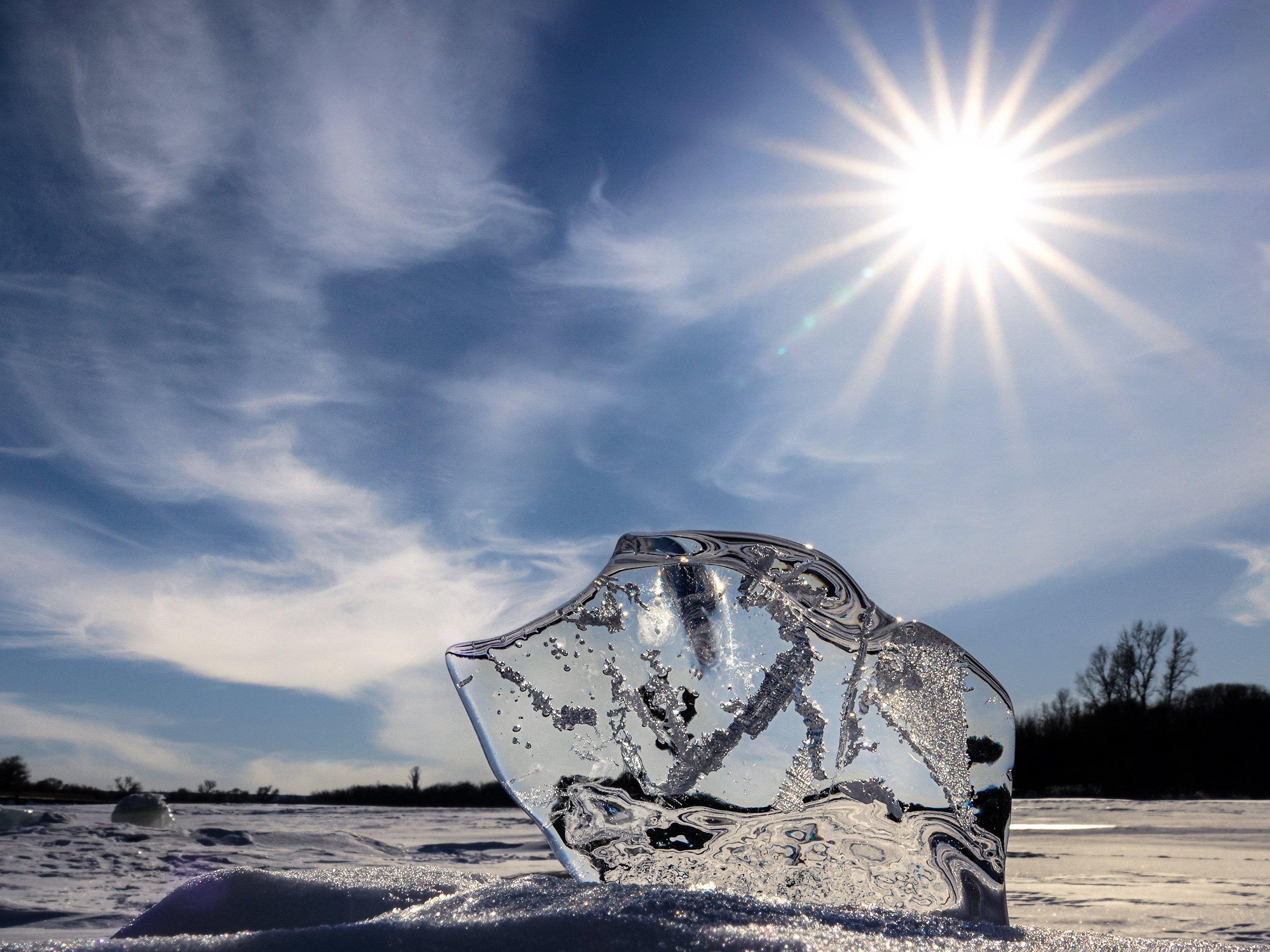 зима, река, лёд, солнце, Жабский Игорь