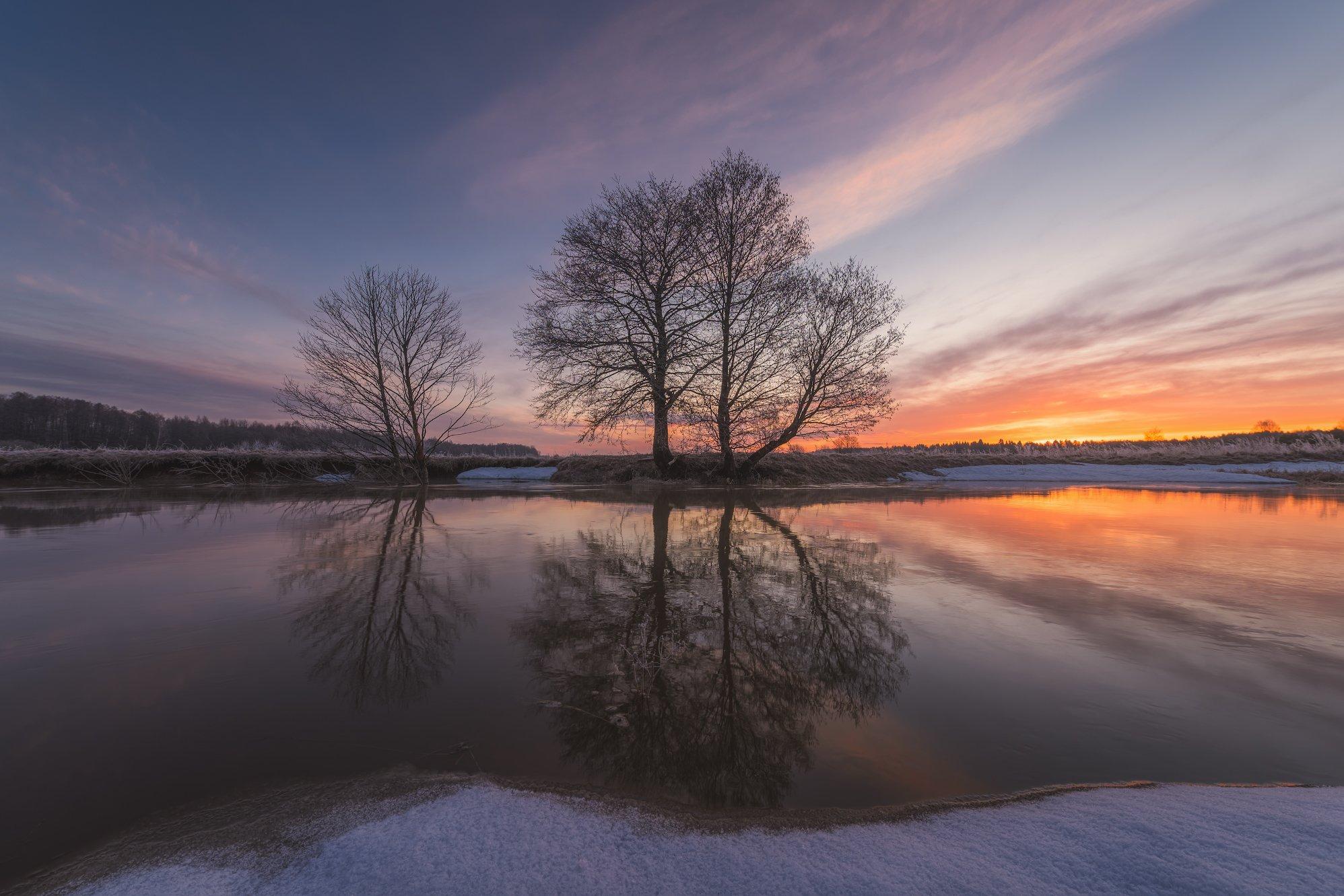 рассвет, река, утро, весна, Левыкин Виталий
