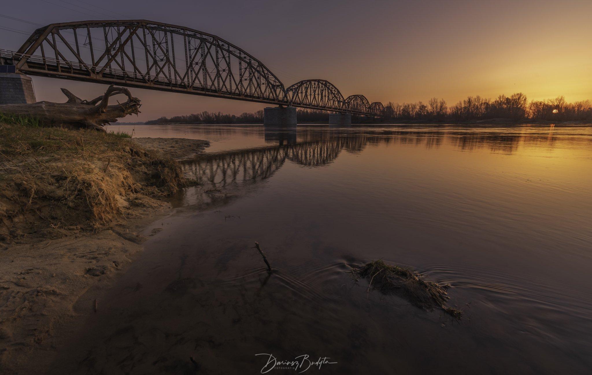 sunrise, spring, river, vistula, reflection, water, sand, Budyta Dariusz