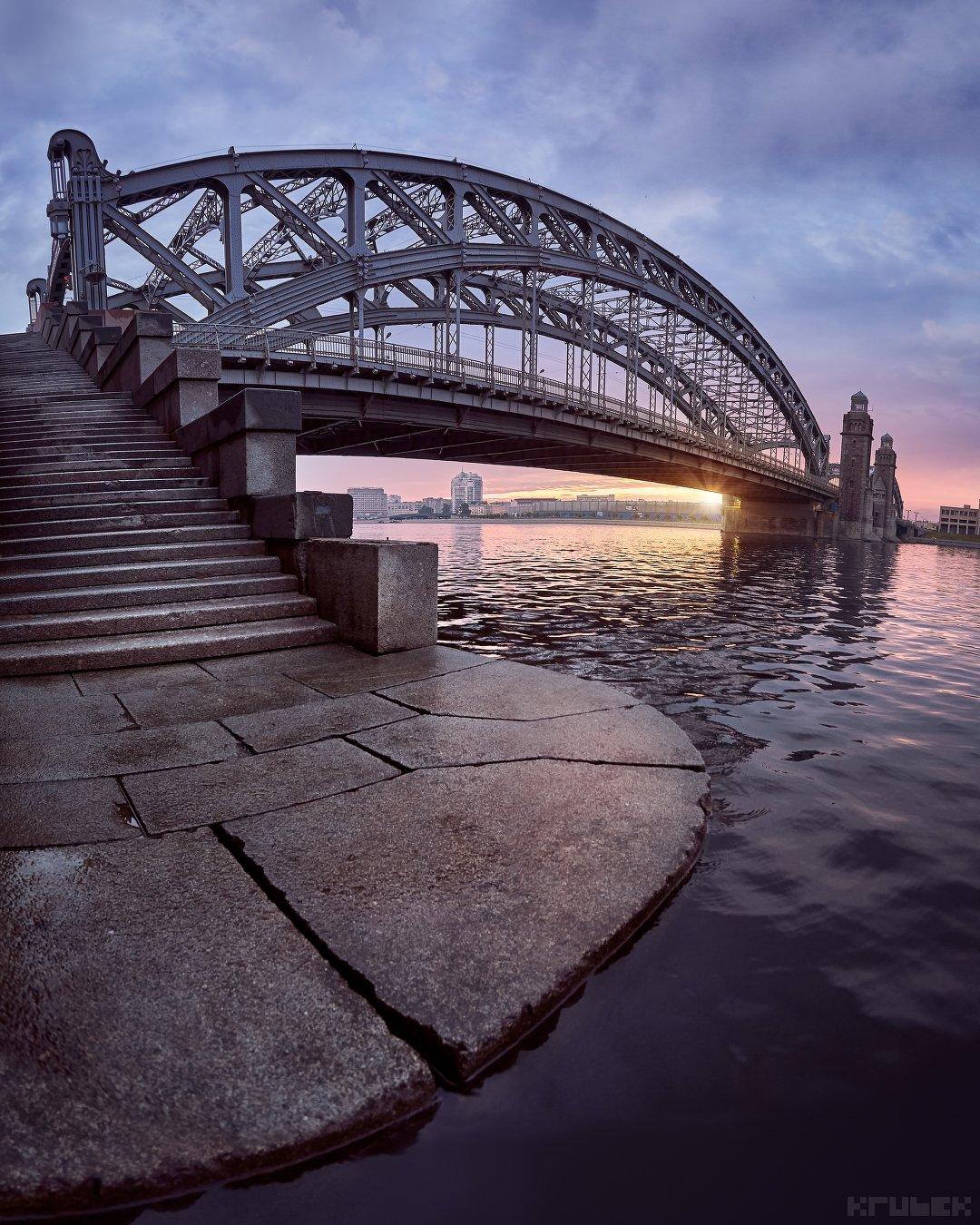 санкт-петербург, большеохтинский мост, нева, KrubeK