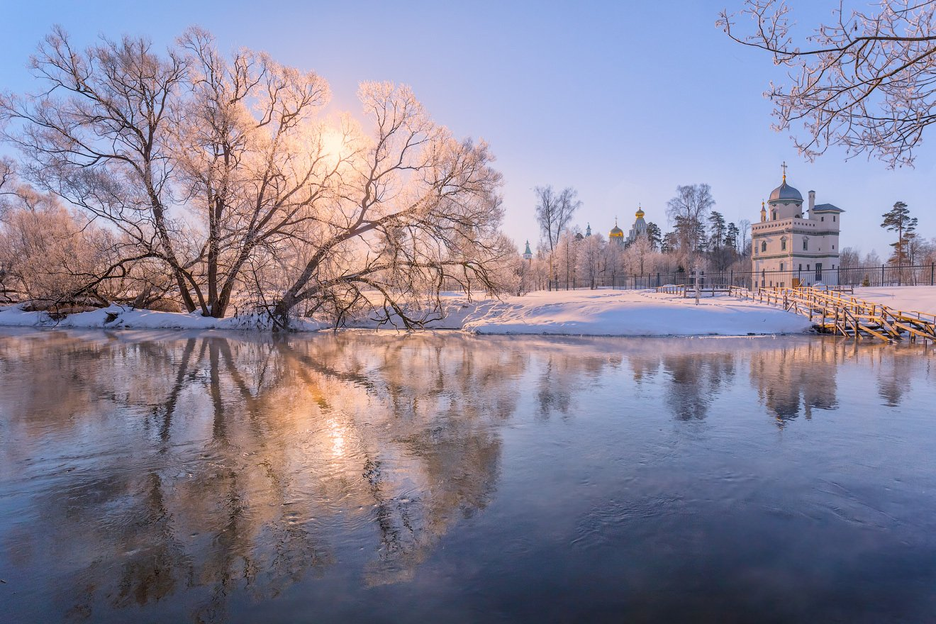 зима, утро, река, истра, солнце, Виктор Климкин