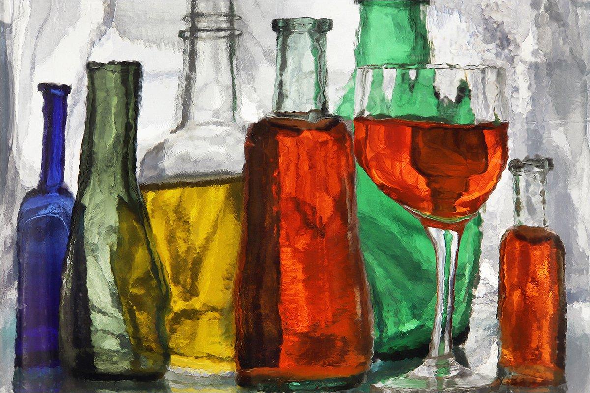 бутылка, бутылки, стекло, натюрморт, бокал,, Victor Pechenev