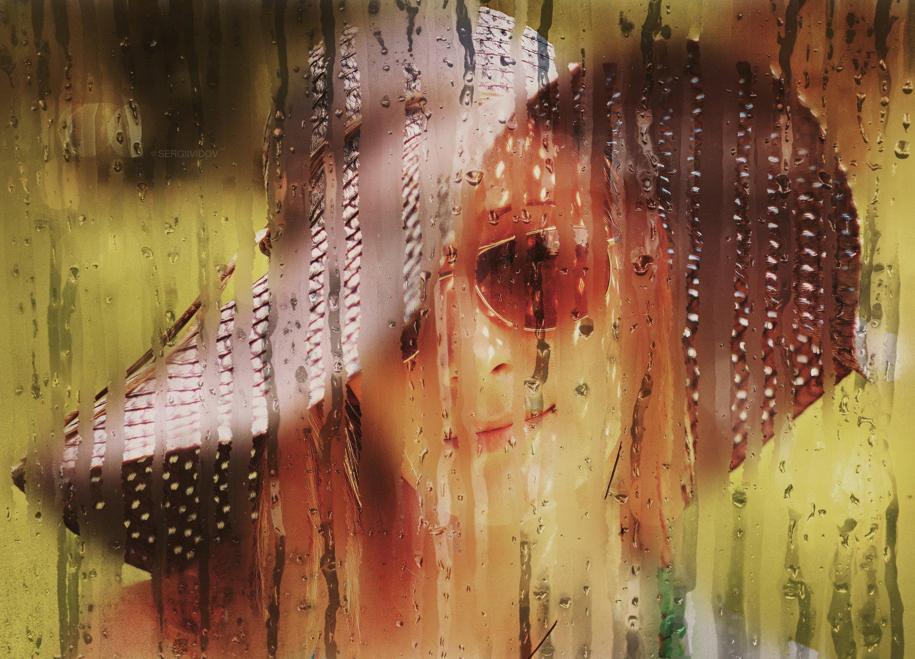 девушка, лето, портрет, блондинка, дождь, стекло, Sergii Vidov