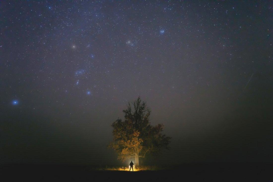 ночь,звезды,туман,орион,плеяды, Андрей Дитковский