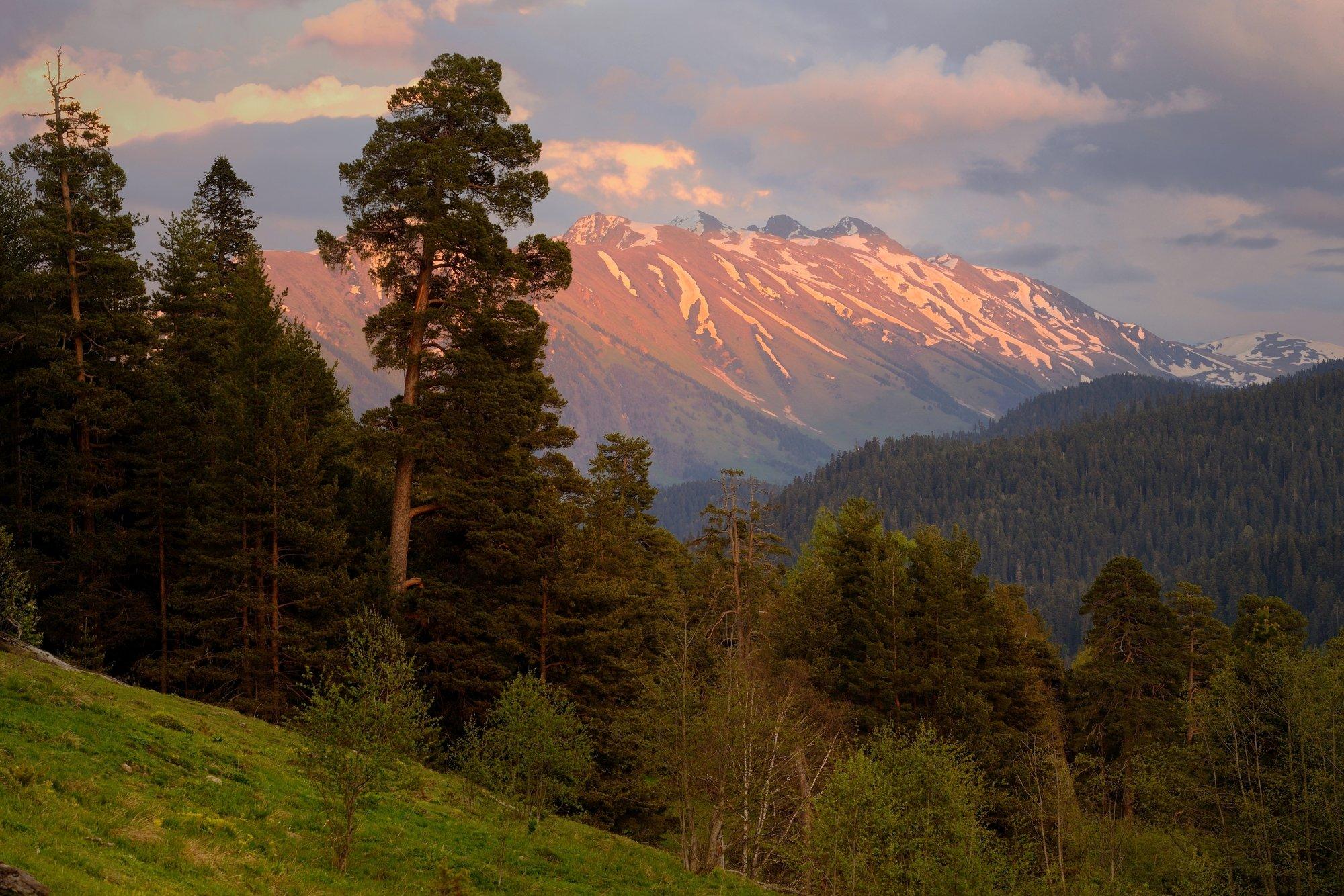 горы весна кавказ архыз закат, Александр Жарников