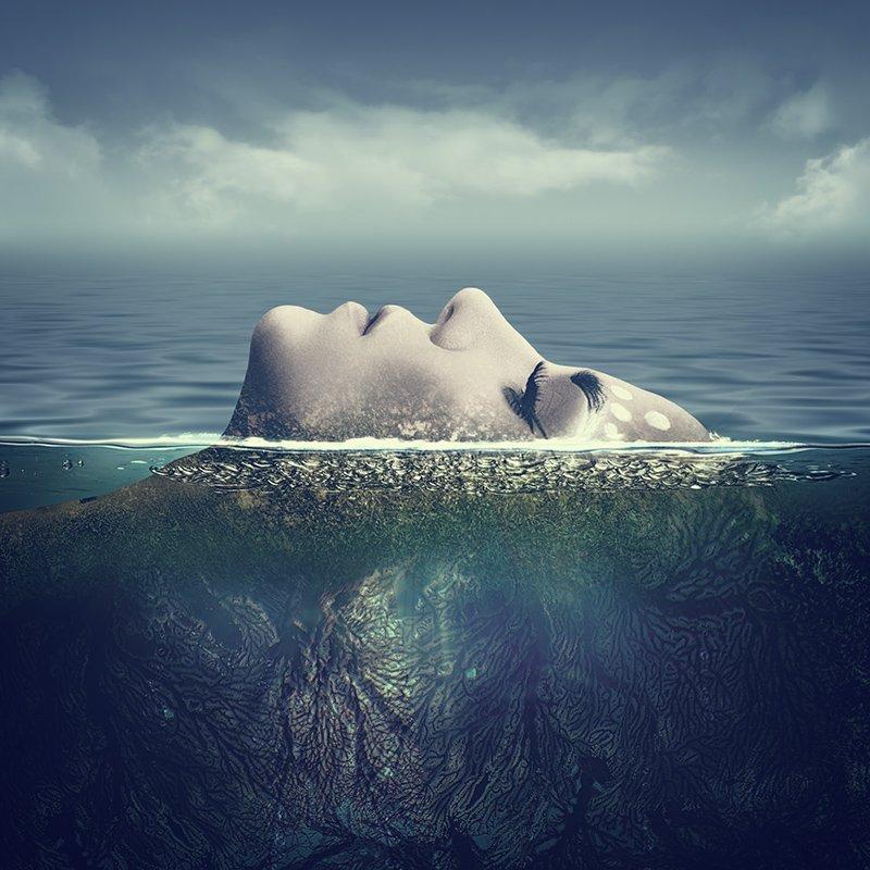 девушка, море, портрет, абстракция, сказка, фэнтези, океан, girl, sea, fairy tale, fantasy, abstract, portrait, Дмитрий Толоконов