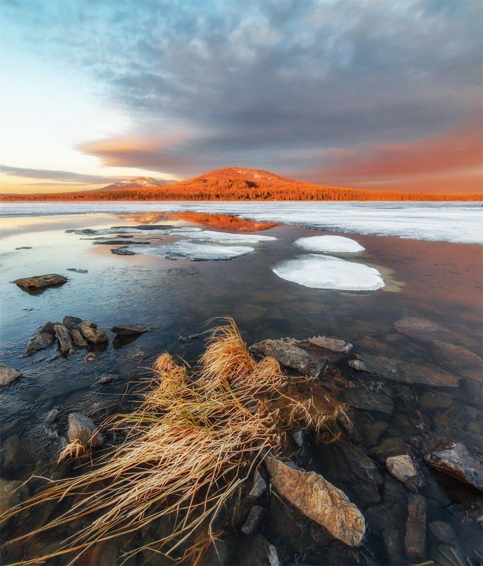 природа, пейзаж, урал, зюраткуль, озеро, весна, лед, утро, восход, рассвет, Альберт Беляев