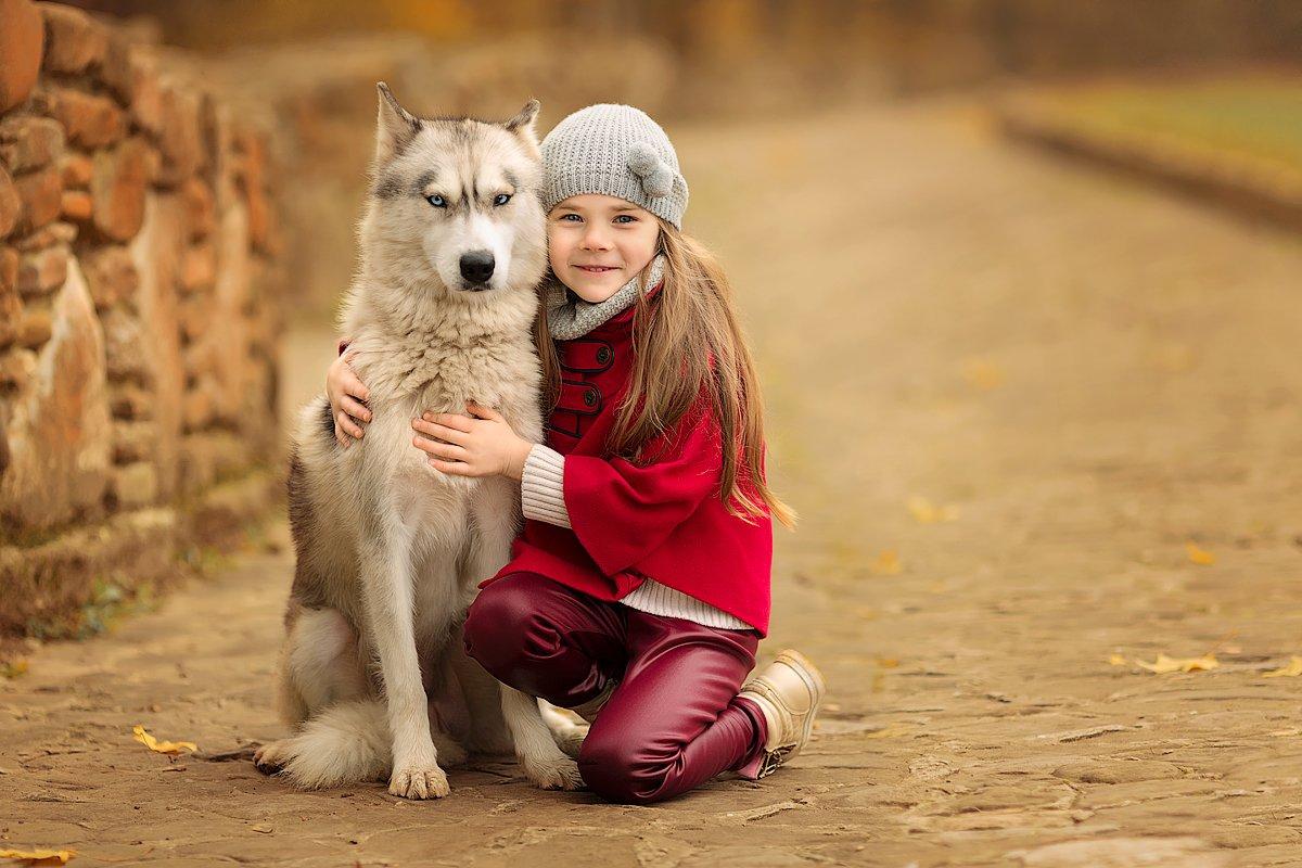фотопрогулка, семейная фотосессия, осень, детская фотосессия, детский фотограф, фотосессия, радость, собака, друг, детское фото, малышка, девочка, семейное фото, восторг, Францева Ольга