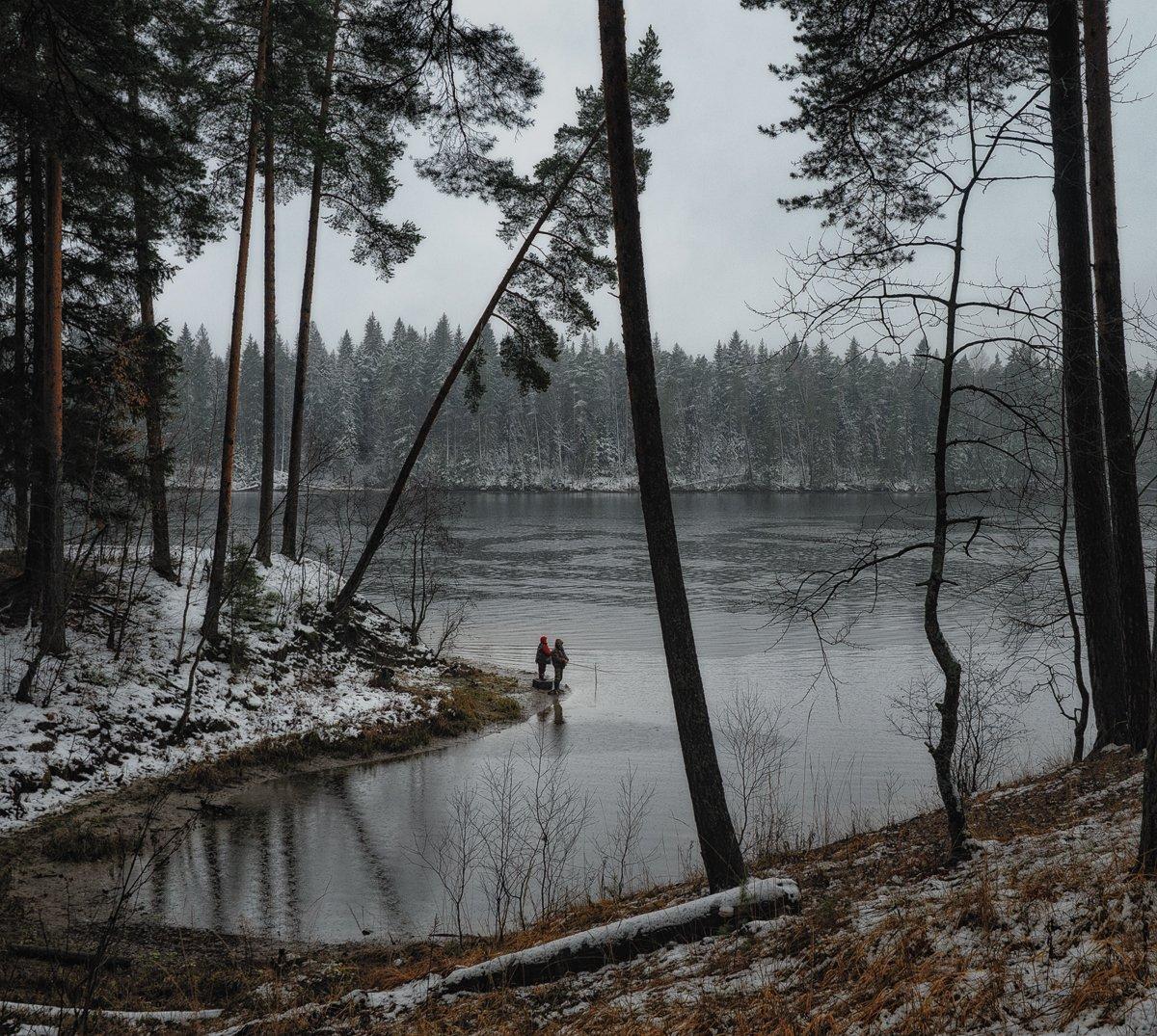 осень,дождь,рыбалка,рыбаки,река,берег,ноябрь, Евгений Плетнев