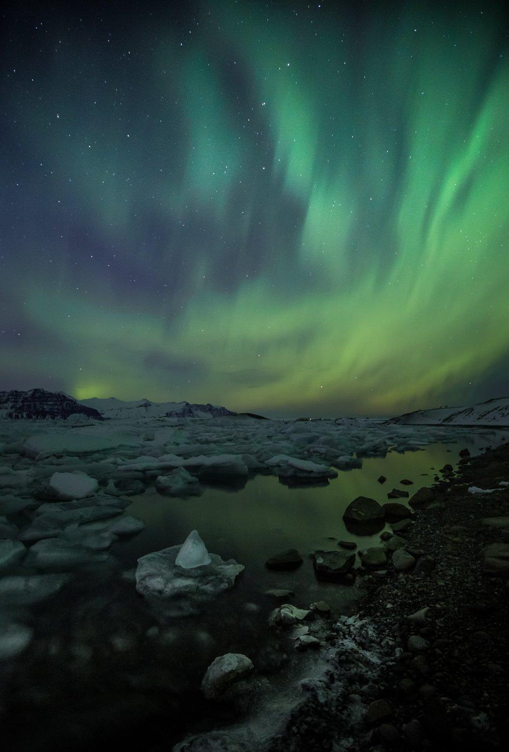 северное сияние, исландия ,голубая лагуна, лед, отражение , аврора, Ирина Назарова