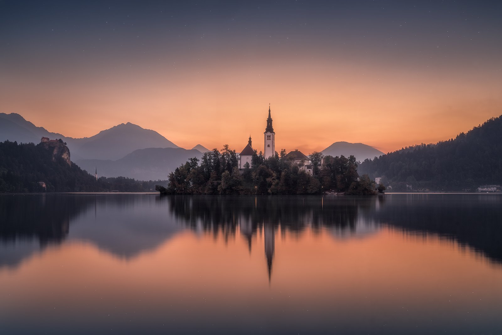 before sunrise, bled, blue, blue hour, calm waters, calmness, castle, church, church tower, cliff, clouds, forest, hills, island, lake, lake bled, lights, morning, mountain range, mountains, outdoors, reflections, rock, serenity, silence, sky, slovenia, s, Ludwig Riml