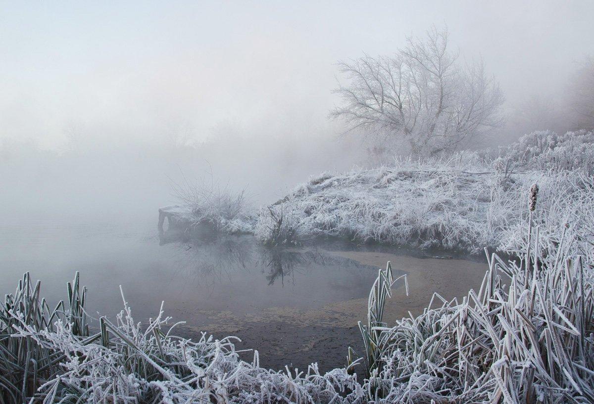 зима, снег, пейзаж, озеро, горячка, Михаил Агеев