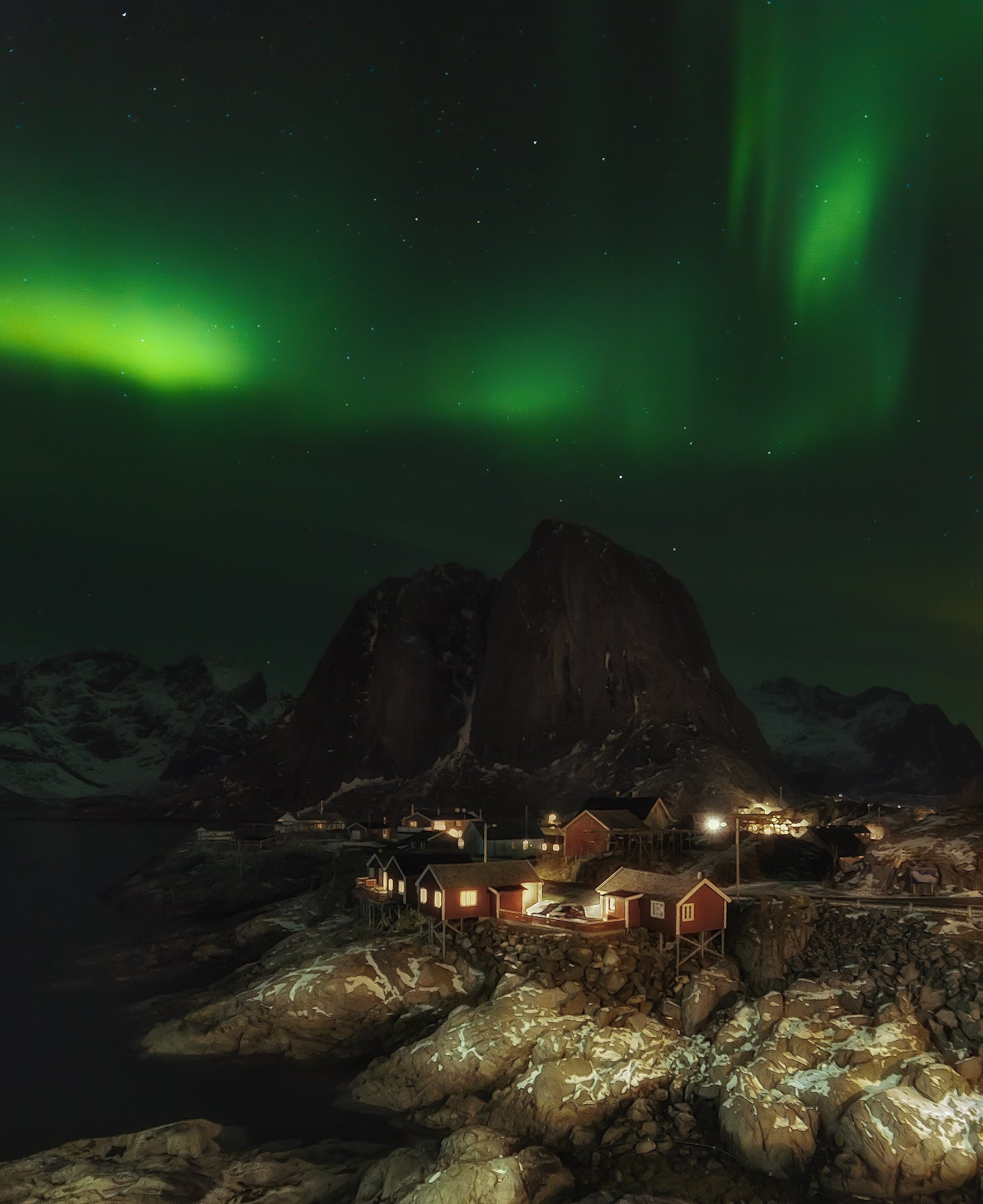 night, landscape, norway, auroaborealis,, Антон Шваин