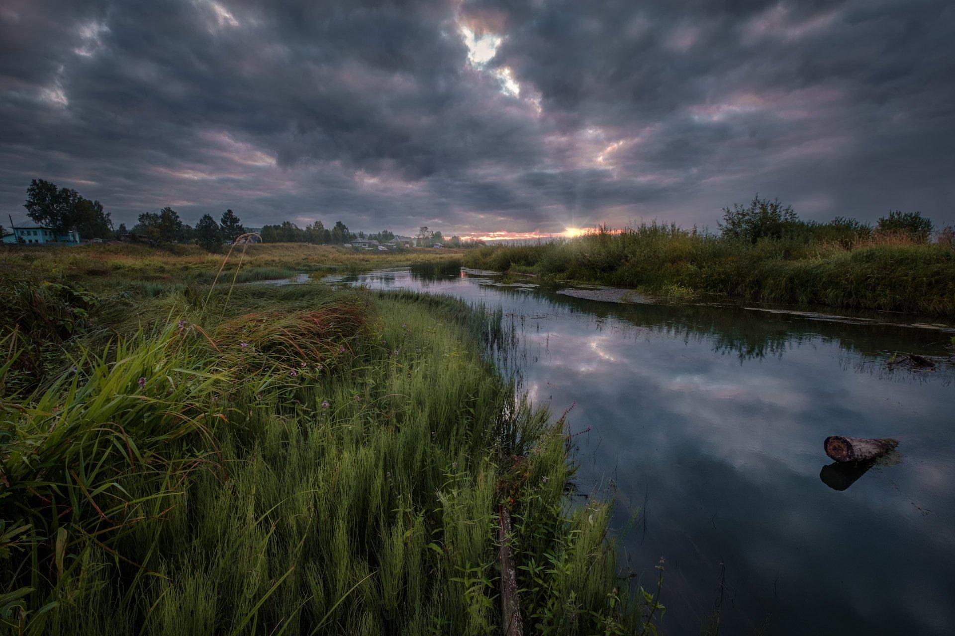 перемское, село, урал, пермский край, пермь, пейзаж, пожва, речка, утро, рассвет, облачно, пасмурно, Андрей Чиж