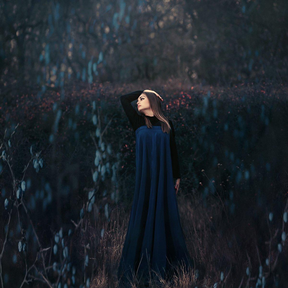 девушка, сны, осень, темный ключ, терновник, арт, синий,, Марина Кондратова