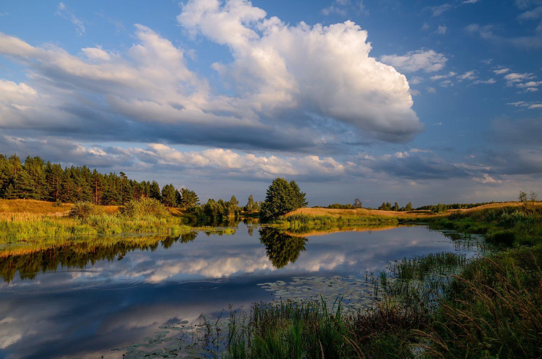 вечер,река,заводь,небо,облака,отражение, Виталий Полуэктов
