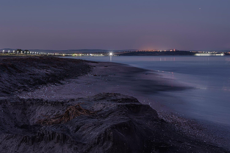 море берег песок огни набережная бургас болгария, Вера Ра