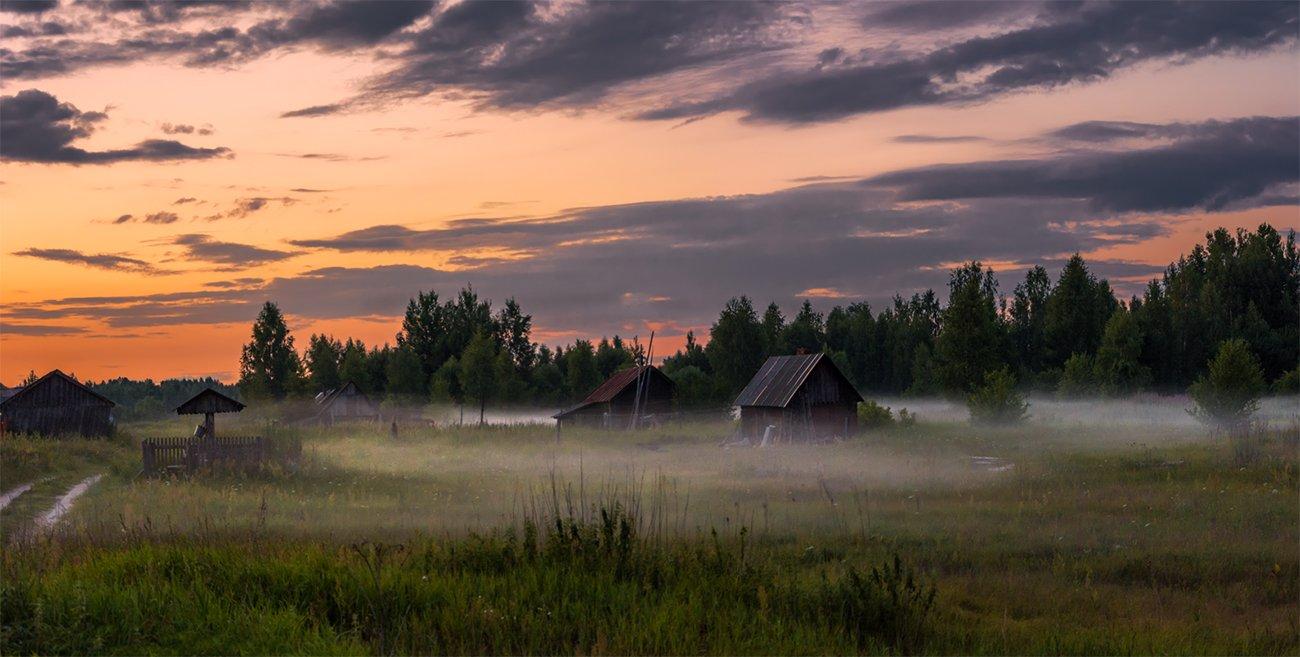 природа, пейзаж, лето, вечер, туман, панорама, закат, деревня, Альберт Беляев