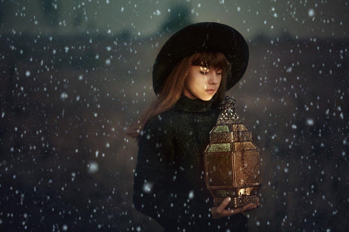 арт, осень, фонарь, свет, цвет, шляпа, девочка, художественный, сказочный, волшебный,, Марина Кондратова
