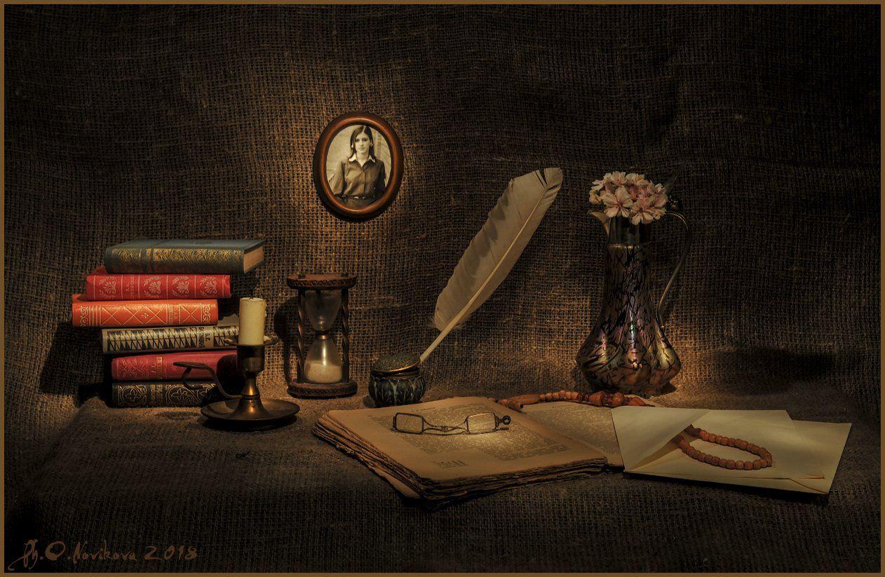 перо, рамка,цветы,кувшин,книги,песочные часы, конверт, бусы, чернильница, Novikova Olga