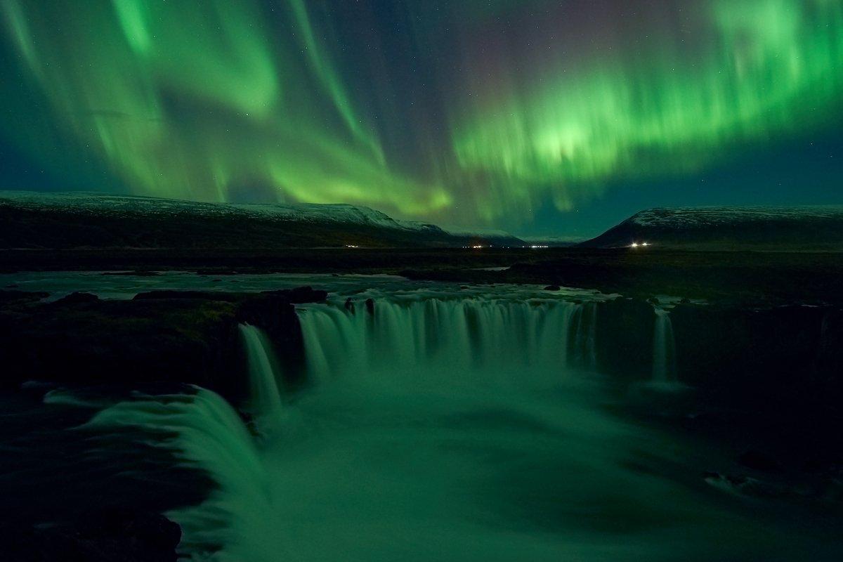 aurora,iceland,night,godafoss,waterfall, Kobran