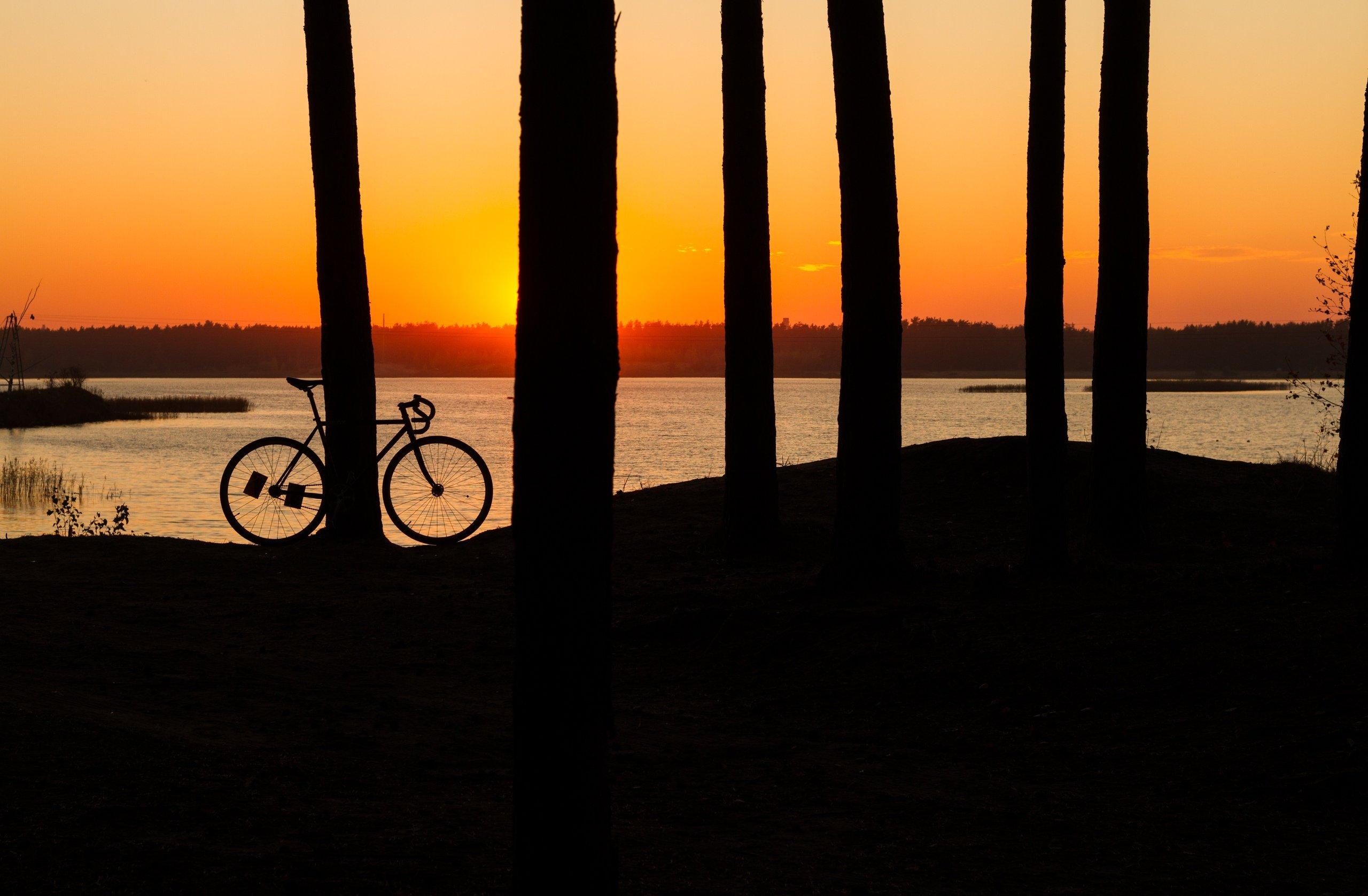 вечер туман россия велосипед закат солнце, Евгений Озеров