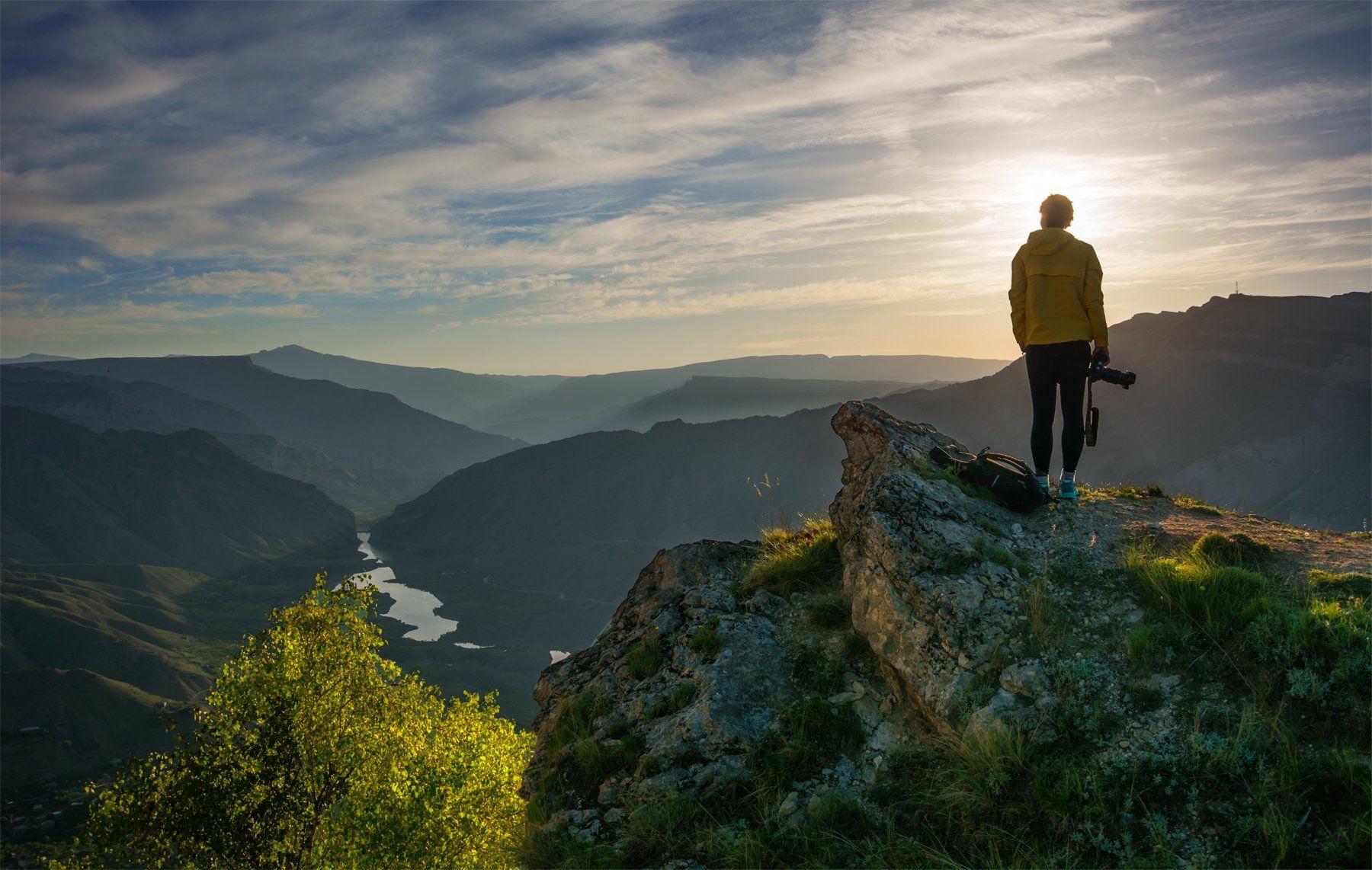 природа, пейзаж, горы, кавказ, природа россии, дикая природа, восход, свет, облака, рассвет, лето, утро, Беляев Альберт