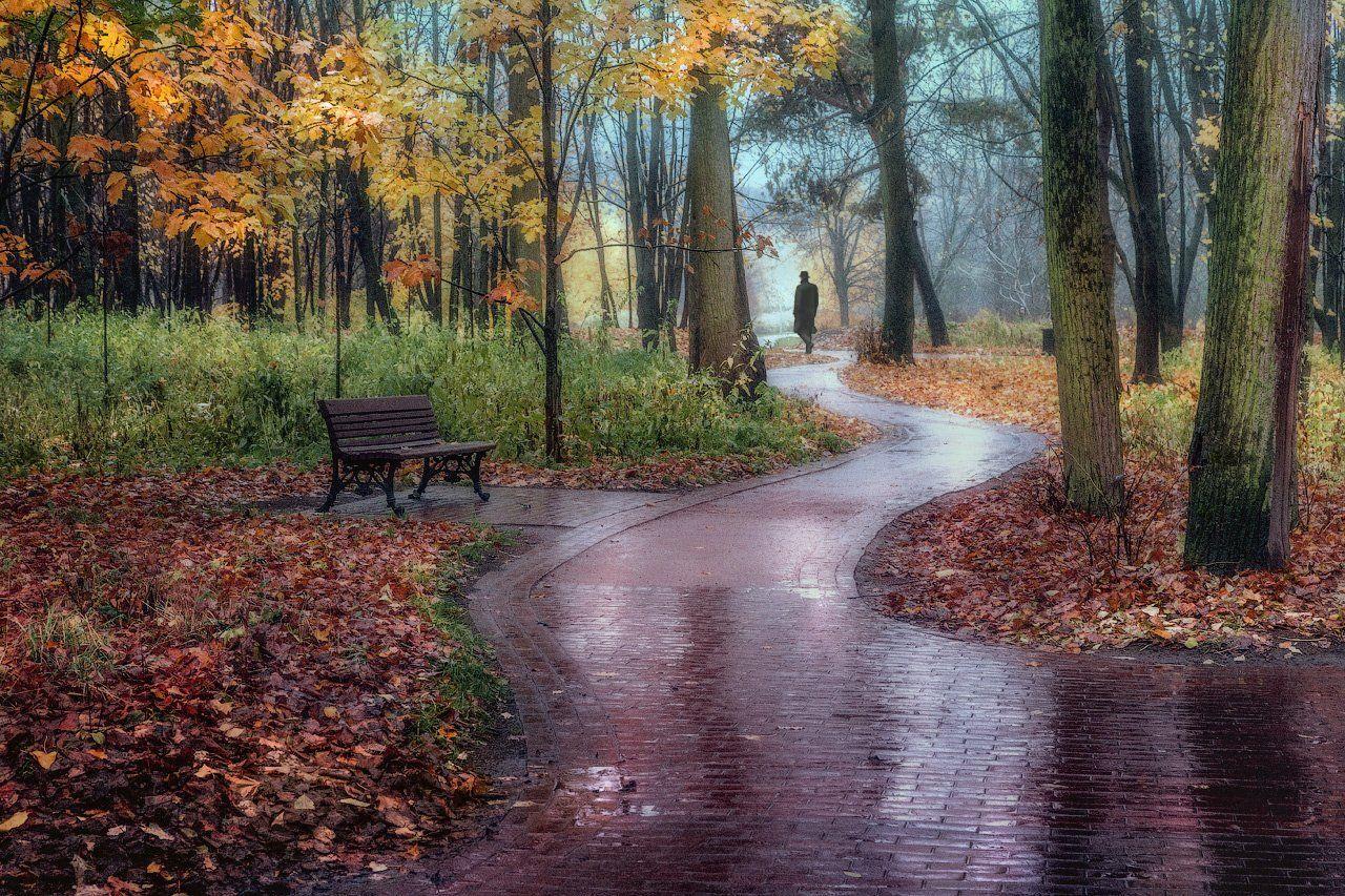 осень, дождь, одинокий, прохожий, парк, уныние, одиночество, Виктор Климкин