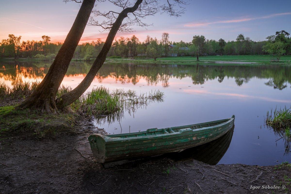 пейзаж, лодка, кузьминки, озеро, landscape, boat, kuzminki, lake, Игорь Соболев