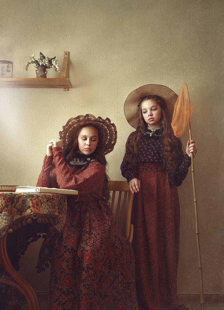 детство, детский портрет,  девочки, настроение, сестры, шляпки, сачек, ретро, картина, Прядко Наталья