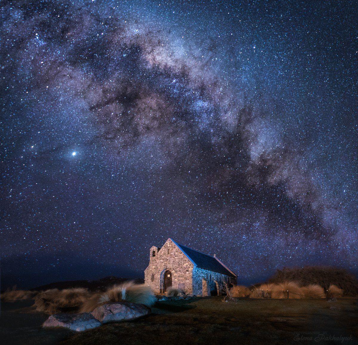 новая зеландия,пейзаж,млечный путь,звезды,ночь, ночной пейзаж,церковь,фототур, Elena Pakhalyuk