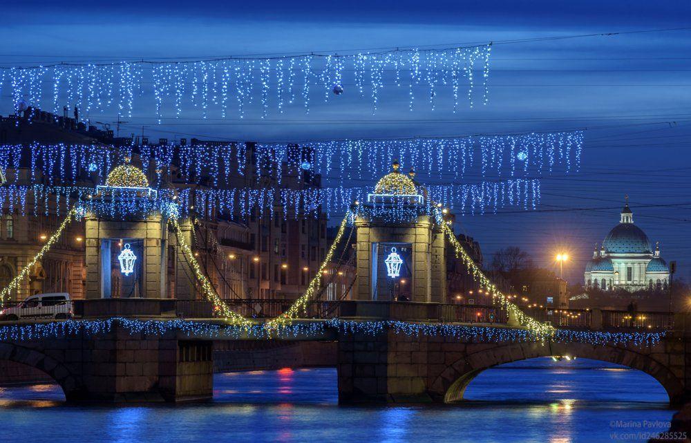 город, архитектура, вечерний новогодний петербург, мост ломоносова, мосты петербурга, река фонтанка, храм, троице-измайловский собор, Павлова Марина