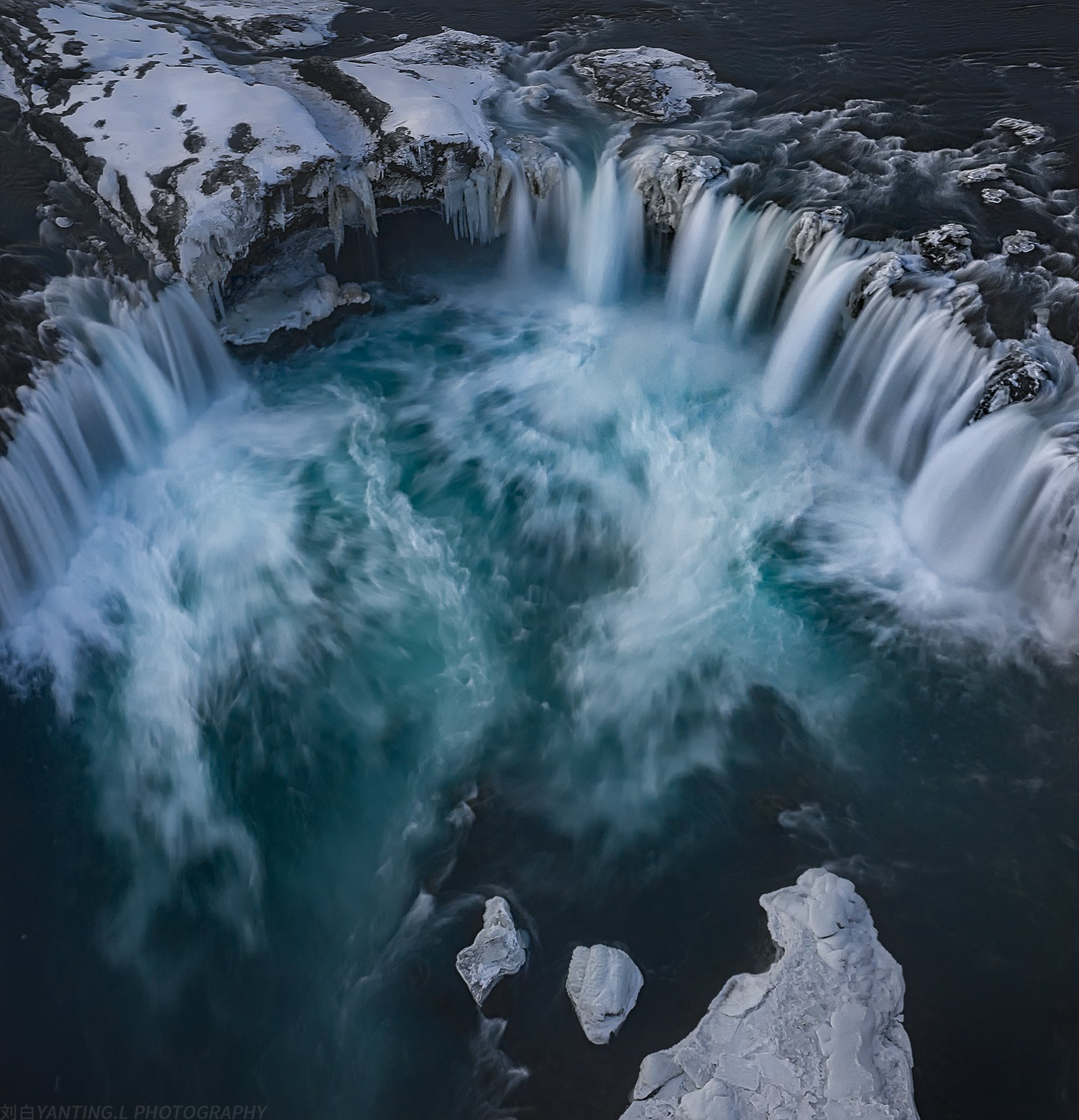 landscape, nature, travel, iceland, waterfall, water, winter, ice, snow, aerial, drone, daylight, Liu Yanting