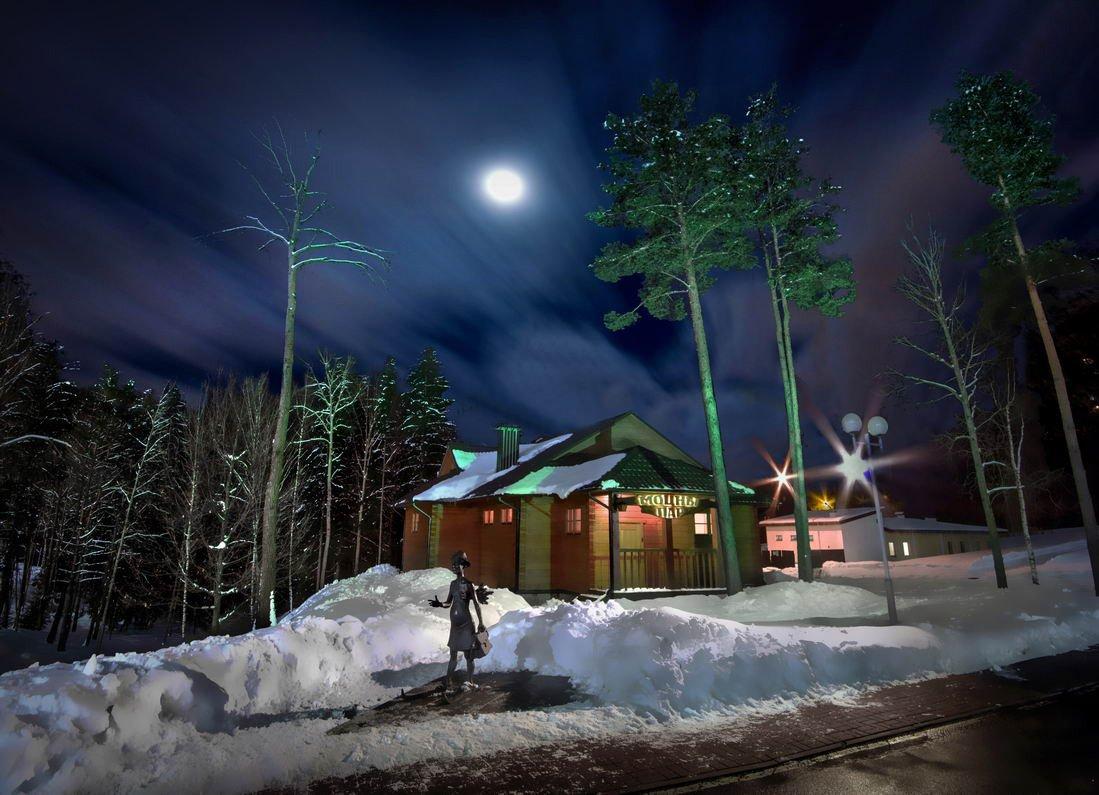 беларусь, звезды, зима, луна, мороз, ночь, снег, замок, баня, вечера-на-хуторе, Serg-N- Melnik-oy