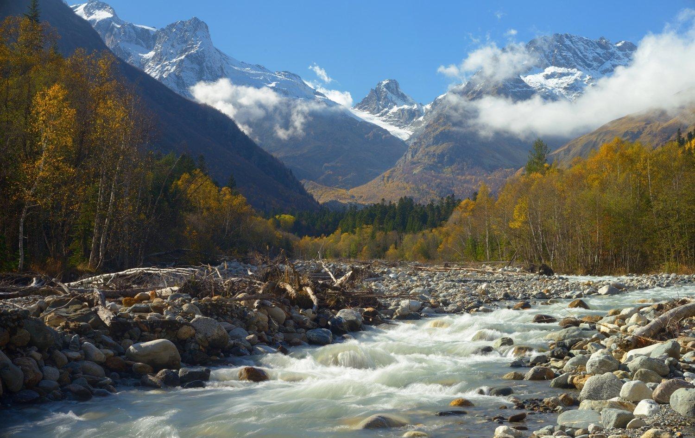 горы кавказ осень  алибек домбай, Александр Жарников