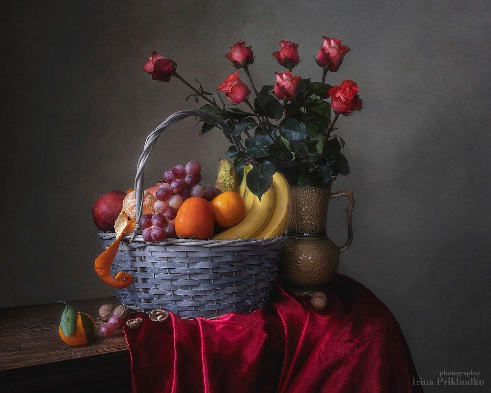 натюрморт, розы, фрукты, художественное фото, ретро, винтажный, Ирина Приходько