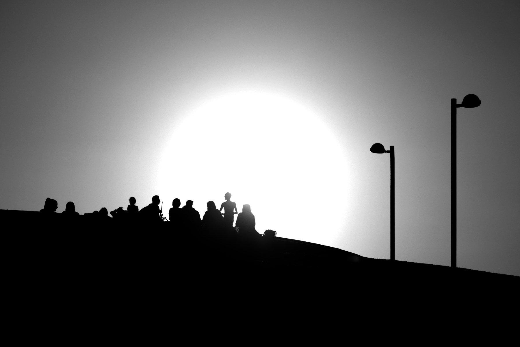 silhouet black and white people sky, algazin vladimir