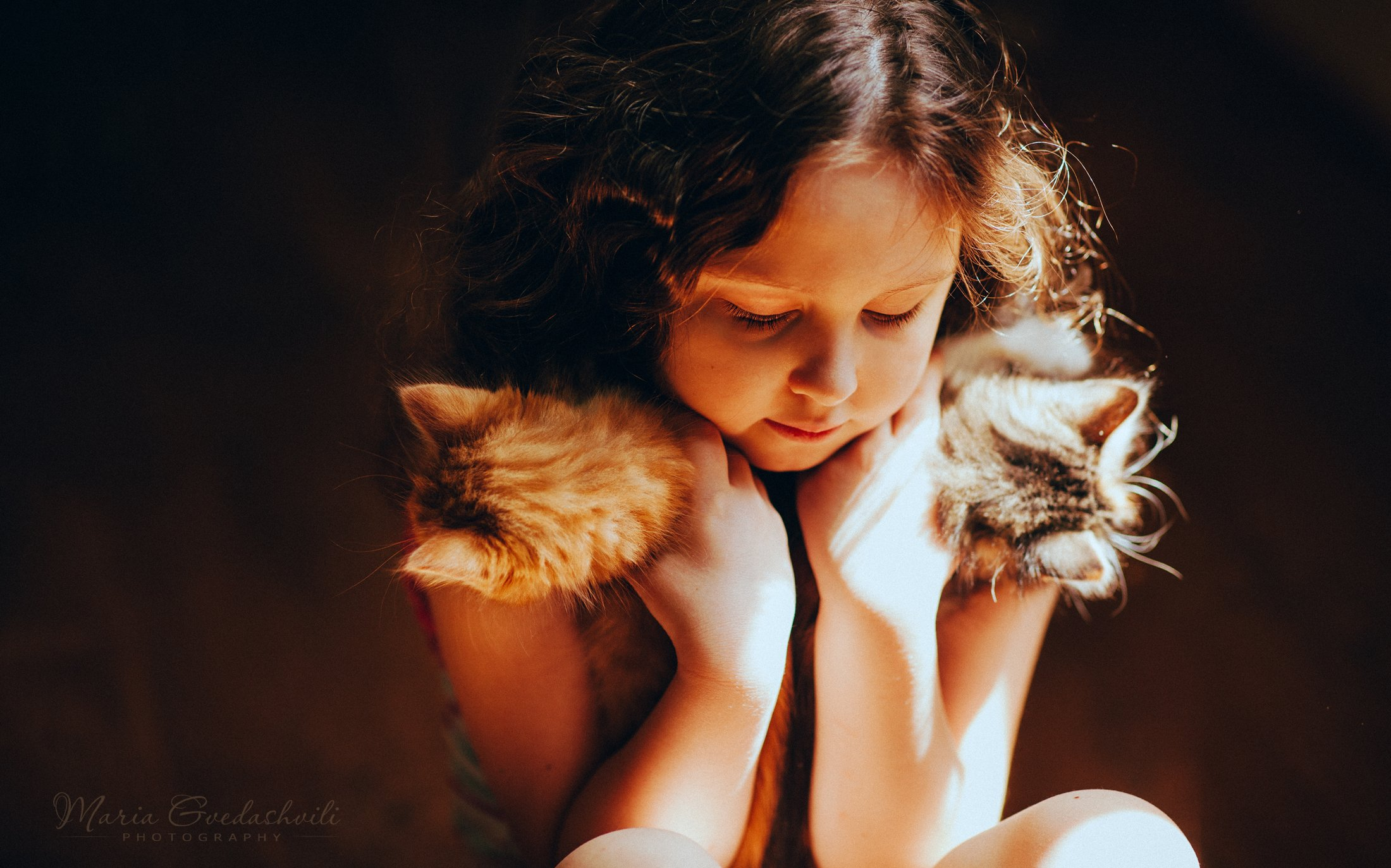 kitten, cat, girl, cute, portrait, mariagvedashvili, Gvedashvili Maria