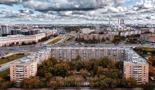 Птичий взгляд на основную артерию Белокаменной - Ленинский проспект