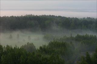 Окрестности перед восходом, с высоты террикона.